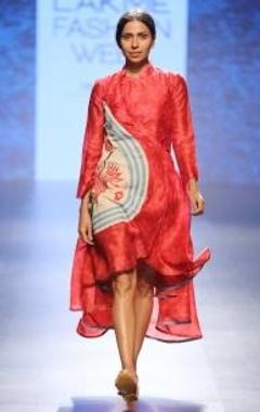 Pink & red shibori chintz wrap dress