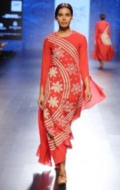 Red & beige floral chintz applique dress
