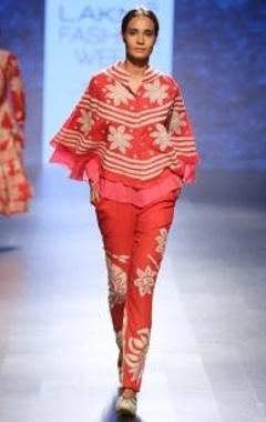 Swati Vijaivargie Red & pink chintz applique layered cape