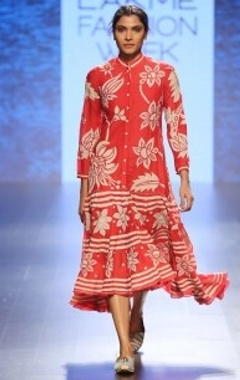 Red & beige floral chintz buttoned dress