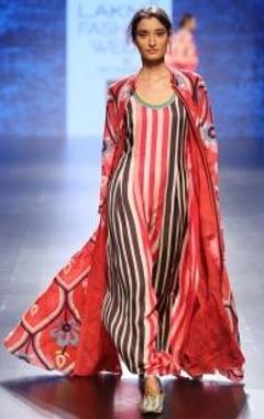 Swati Vijaivargie Red, beige & black striped column dress
