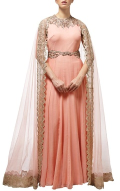 peach embroidered cape anarkali