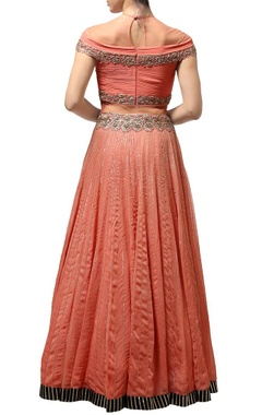 Dusky orange & silver embroidered lehenga set