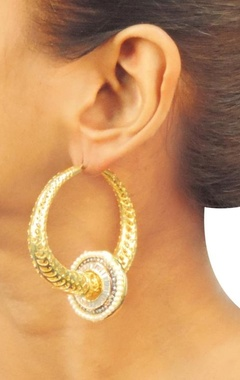 Gold plated textured studded hoops