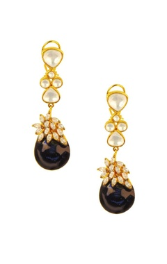 Gold plated crystal & amethyst drop earrings
