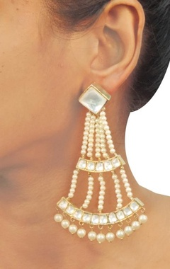 Gold & silver crystal pearl earrings