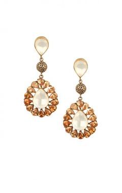 Rose gold & crystal motif earrings