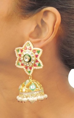 Gold plated  green & pink stone jhumkas