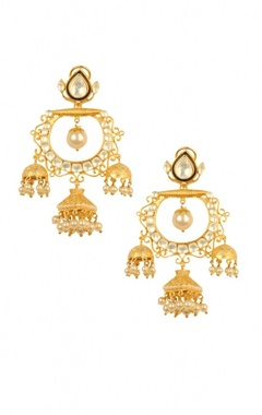 Gold plated pearl & crystal  triple jhumkas