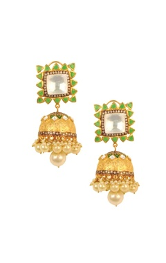 Gold plated green stone &  pearl jhumkas