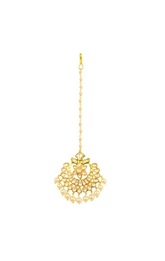 Gold plated floral crystal maangtikka