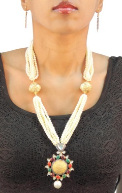 Gold plated pearl necklace with multi-colored pendant