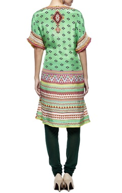 green printed & embellished tunic with churidar