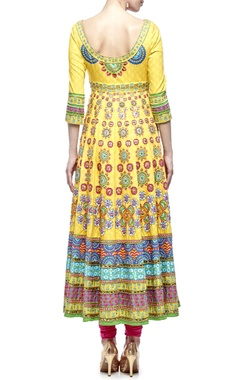 yellow & pink motif printed & embellished anarkali set