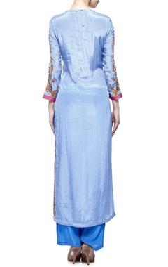 Cerulean & multi-colored geometric embellished kurta set