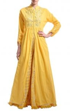 Canary yellow gota embroidered jacket with lehenga