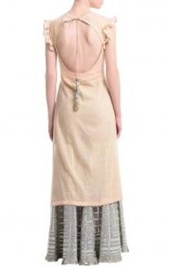 Pale peach & grey silver gota sharara set