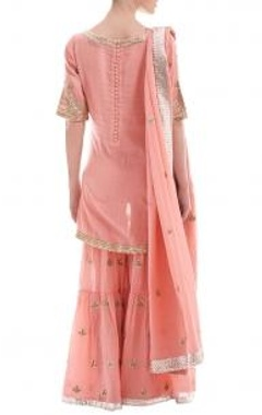 Salmon pink motif gota  sharara set