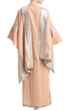 Soft beige & silver gota kurta set