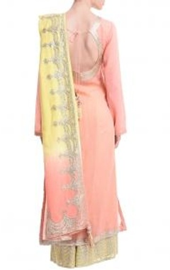 peach & lemon  silver gota embroidered kurta set