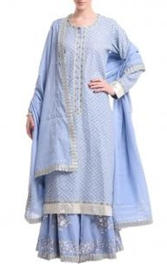 Ice blue & silver scallop gota sharara set