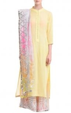 lemon yellow & peach tie dye gota kurta set