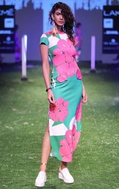 Green & pink garlic printed  pocket dress