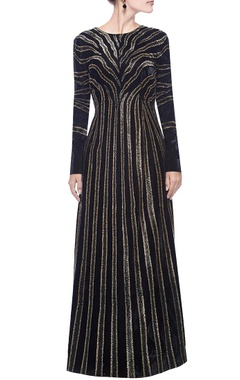 Black & gold zebra striped embellished gown