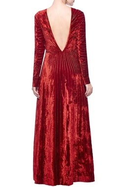 Red & gold zebra striped embellished gown