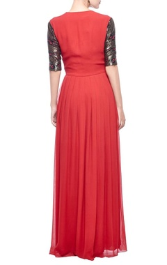 red & antique gold snakeskin embellished gown