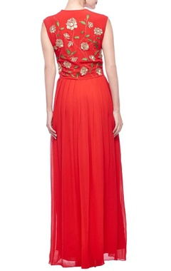 Red & gold zari embroidered maxi dress