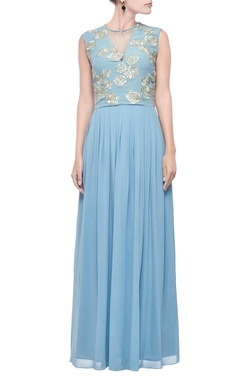 Powder blue & gold zari  embroidered maxi dress