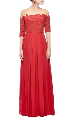 red & gold scale embellished gown