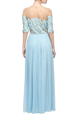 powder blue & black scale embellished gown