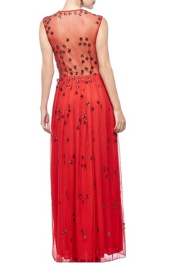 red & copper floral embellished gown