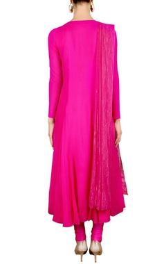 Hot pink floral embellished kurta set