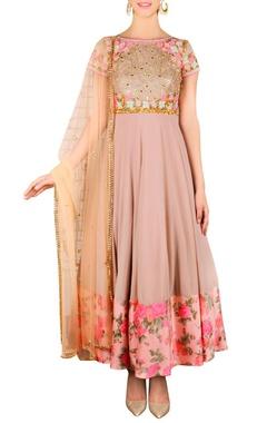 soft beige floral embroidered kurta set
