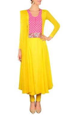Bright yellow & pink floral embellished kurta set