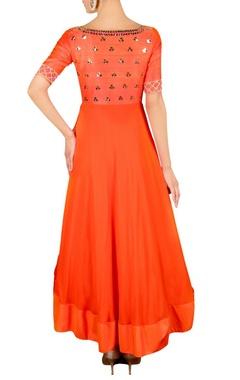 Burnt orange floral embellished anarkali set