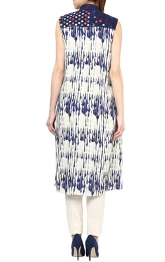 indigo & ivory stripe & textured tunic with pants