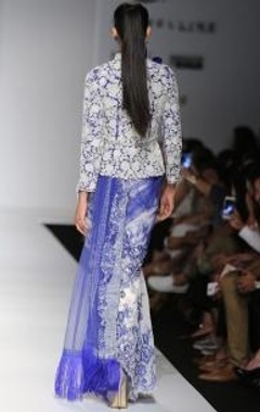 ivory & indigo embroidered jacket with matching sari