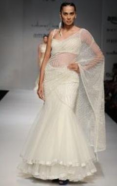 ivory bead embellished lehenga sari