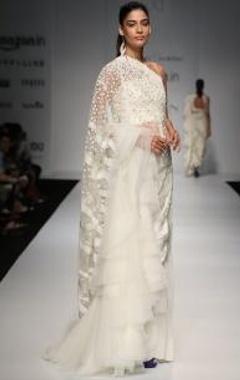 Ivory floral embellished lehenga sari