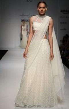 Ivory  lace & pearl embellished lehenga sari