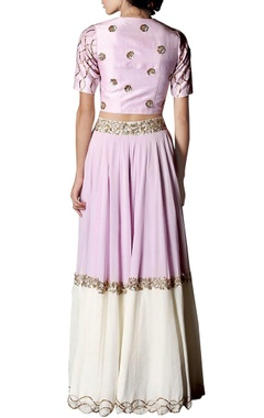 Lavender & white floral embroidered lehenga set
