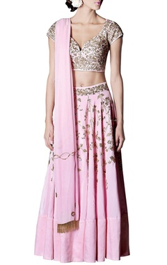 Powder pink & gold floral embroidered lehenga set