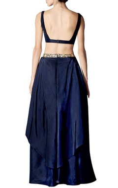 Navy & gold floral embroidered lehenga set