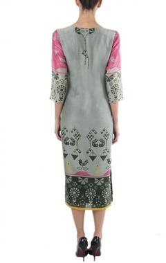 grey & pink geometric bird printed dress