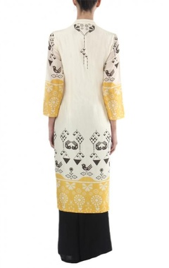 white, black & yellow printed tunic with  palazzos