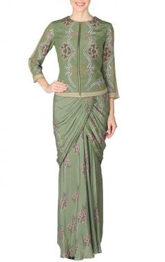Mehendi floral printed sari with bomber jacket